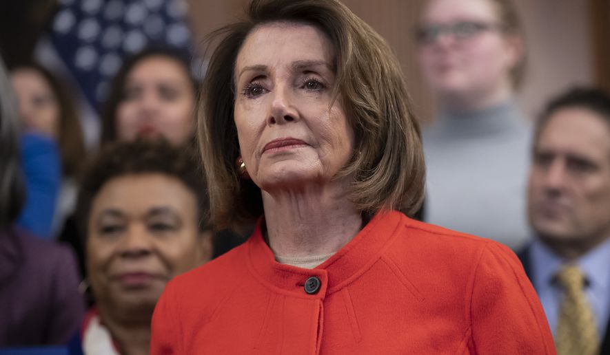 Speaker of the House Nancy Pelosi, D-Calif., attends an event to advocate for the Paycheck Fairness Act on the 10th anniversary of President Barack Obama signing the Lilly Ledbetter Fair Pay Act, at the Capitol in Washington, Wednesday, Jan. 30, 2019. (AP Photo/J. Scott Applewhite) ** FILE **