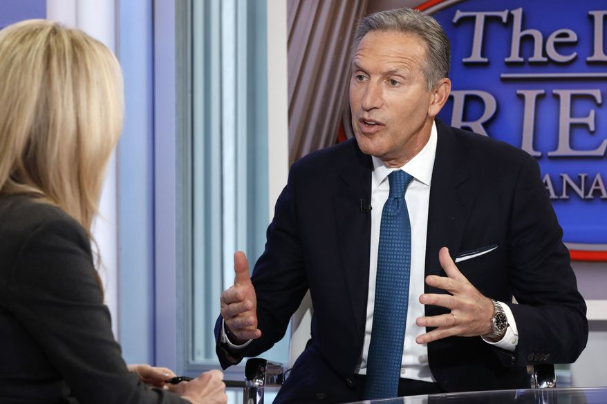 "Former Starbucks CEO Howard Schultz is interviewed by FOX News Anchor Dana Perino for her ""The Daily Briefing"" program, in New York, Wednesday, Jan. 30, 2019. Schultz said he's flirting with an independent presidential campaign that would motivate voters turned off by both parties. (AP Photo/Richard Drew)"