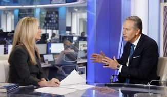 """Former Starbucks CEO Howard Schultz is interviewed by FOX News Anchor Dana Perino for her """"The Daily Briefing"""" program, in New York, Wednesday, Jan. 30, 2019. Schultz said he's flirting with an independent presidential campaign that would motivate voters turned off by both parties. (AP Photo/Richard Drew)"""
