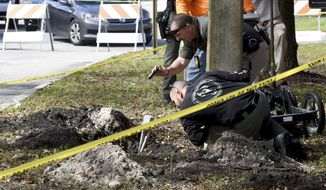 FBI and Pembroke Pines Police investigate a tunnel by a possible would-be bank robber which was discovered beneath the entrance to the Flamingo Pines shopping plaza Wednesday, Jan. 30, 2019, in Pembroke Pines, Fla. The tunnel stretched from a nearby wooded area towards the Chase bank branch in the plaza. (Taimy Alvarez/South Florida Sun-Sentinel via AP)