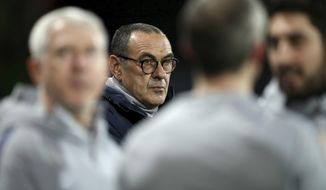 Chelsea manager Maurizio Sarri before the match against Bournemouth, during their English Premier League soccer match at the Vitality Stadium in Bournemouth, Wednesday Jan. 30, 2019. (Andrew Matthews/PA via AP)