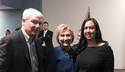 John J. Dougherty, who heads Philadelphia Local 98 of the International Brotherhood of Electrical Workers, is shown in this undated photo with Hillary Clinton and an unidentified woman. (Courtesy Politics/PA)