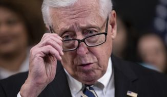 House Majority Leader Steny Hoyer, D-Md., speaks at an event to advocate for the Paycheck Fairness Act on the 10th anniversary of President Barack Obama signing the Lilly Ledbetter Fair Pay Act, at the Capitol in Washington, Wednesday, Jan. 30, 2019. The legislation, a top tier issue for the new Democratic majority in the House, would strengthen the Equal Pay Act of 1963 and guarantee that women can challenge pay discrimination and hold employers accountable. (AP Photo/J. Scott Applewhite) **FILE**