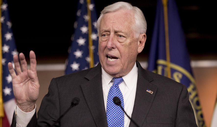 In this Jan. 22, 2019, file photo, House Majority Leader Steny Hoyer of Md., speaks at a news conference on Capitol Hill in Washington. (AP Photo/Andrew Harnik) ** FILE **