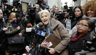 FILE - In this Dec. 5, 2016 file photo, Jill Stein, the presidential Green Party candidate, speaks at a news conference in front of Trump Tower, Monday, Dec. 5, 2016, in New York. Election security experts are watching a Wisconsin court case that could end with the first public conclusions on whether ballot-counting machines were hacked or performed poorly. Former Green Party presidential candidate Jill Stein wants to review Wisconsin's voting machines as part of a recount of presidential results she demanded in 2016. Under state law, all parties involved in a recount are entitled to review the machines as long as they don't disclose proprietary information. (AP Photo/Mark Lennihan, File)