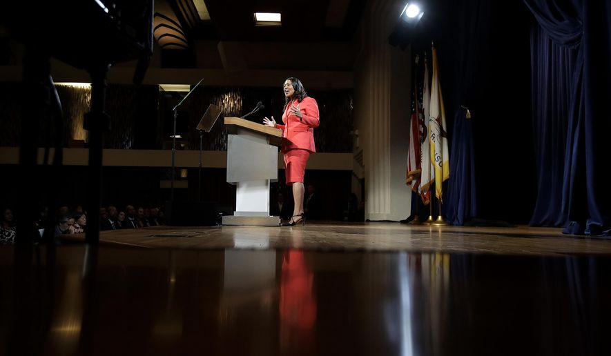 San Francisco Mayor London Breed delivers the state of the city address in San Francisco, Wednesday, Jan. 30, 2019. Breed swiped at the White House in her first state of the city address, saying that the city would protect transgender and immigrant rights. (AP Photo/Jeff Chiu)