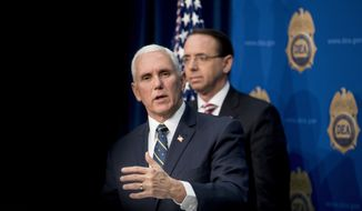 Vice President Mike Pence, accompanied by Deputy Attorney General Rod Rosenstein, speaks to Drug Enforcement Administration employees at their headquarters in Arlington, Va., Thursday, Jan. 31, 2019. (AP Photo/Andrew Harnik)