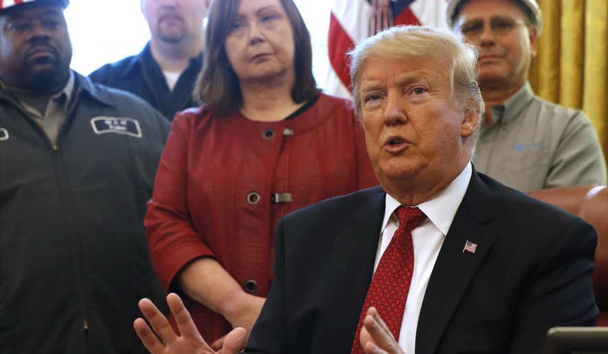 "President Donald Trump speaks during a meeting with American manufacturers in the Oval Office of the White House, Thursday, Jan. 31, 2019, in Washington. Trump was signing an executive order pushing those who receive federal funds to ""buy American."" (AP Photo/Jacquelyn Martin)"