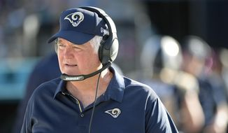 FILE - In this Oct. 15, 2017, file photo, Los Angeles Rams defensive coordinator Wade Phillips watches from the sideline during the first half of an NFL football game against the Jacksonville Jaguars in Jacksonville, Fla. The 71-year-old mastermind defensive coordinator with the millennial boss is quoting Drake and Future, pretending to be good at Fortnite, and altogether making the most of his second Super Bowl in four years after going just once his first four NFL decades. (AP Photo/Phelan M. Ebenhack, File) **FILE**