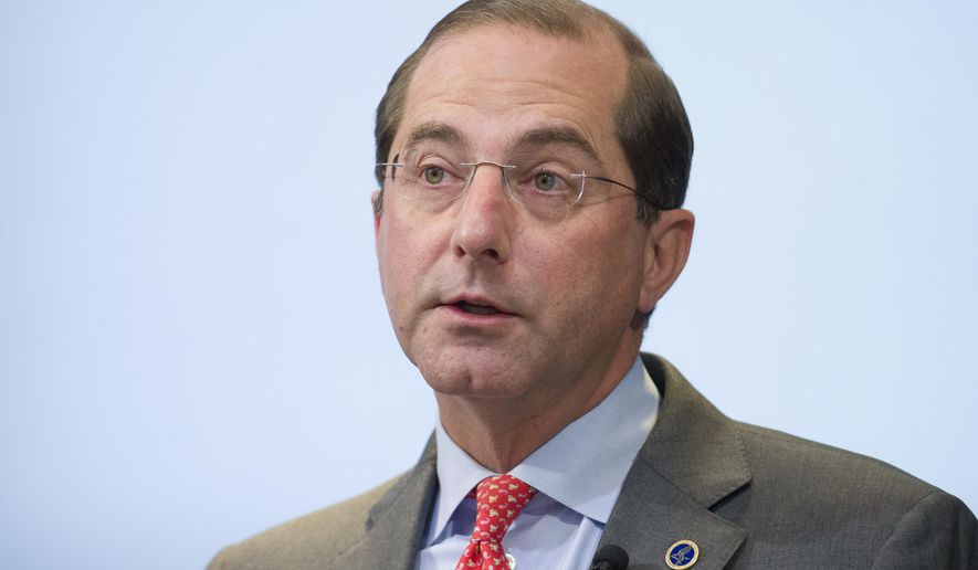 In this Oct. 26, 2018, photo, Health and Human Services Secretary Alex Azar speaks about proposed reforms to Medicare Part B drug pricing policies at the Brookings Institute in Washington. (Associated Press) **FILE**