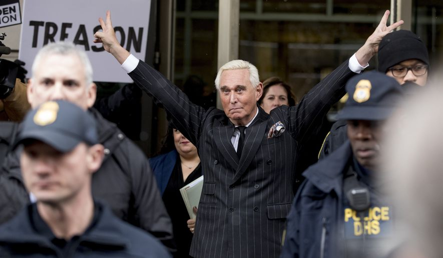 Roger Stone leaves the federal court Friday, Feb. 1, 2019 in Washington. Stone appeared for a status conference just three days after he pleaded not guilty to felony charges of witness tampering, obstruction and false statements. (AP Photo/Andrew Harnik)