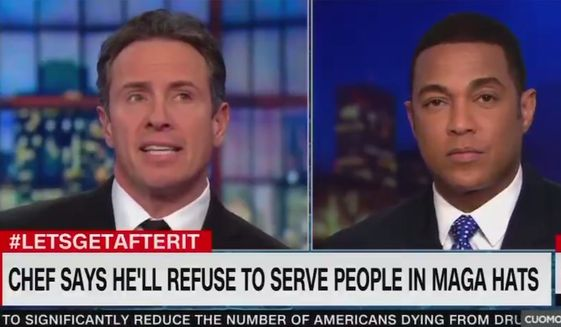 """CNN's Chris Cuomo and Don Lemon debate what kind of clothing would be analogous to red """"MAGA"""" hats during a Jan. 31, 2019, broadcast of """"CNN Live."""" (Image: CNN screenshot) ** FILE **"""