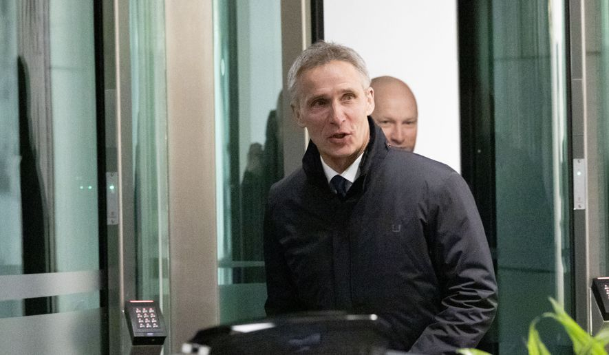 NATO Secretary General Jens Stoltenberg in Oslo, Norway, Friday, Feb. 1, 2019, after commenting on the United States withdrawal from INF treaty.  The United States announced Friday that it is pulling out of a landmark nuclear arms treaty with Russia. (Fredrik Hagen/NTB via AP) ** FILE **