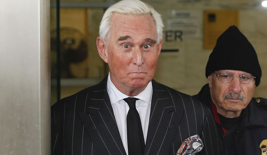 Former campaign adviser for President Donald Trump, Roger Stone, leaves federal court in Washington, Friday, Feb. 1, 2019. (AP Photo/Pablo Martinez Monsivais)