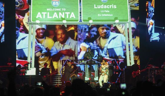 Jermaine Dupri, left, and Ludacris perform onstage at the Bud Light Super Bowl Music Fest at the State Farm Arena on Thursday, Jan. 31, 2019, in Atlanta. (Photo by Paul R. Giunta/Invision/AP)