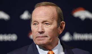 In this Jan. 5, 2011, file photo, Denver Broncos owner Pat Bowlen talks about Hall of Fame quarterback John Elway, whom he named executive vice president of football operations, during a news conference at the team's NFL football headquarters in Englewood, Colo. John Elway has a good feeling that Denver Broncos owner Pat Bowlen will join him in the Hall of Fame this weekend. (AP Photo/ Ed Andrieski, File)
