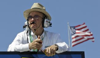 FILE - In this April 5, 2013, file photo, team owner Jack Roush watches practice for the NASCAR Sprint Cup series auto race at Martinsville Speedway in Martinsville, Va. Roush is being inducted into the NASCAR Hall of Fame on Friday, Feb. 1, 2019. (AP Photo/Steve Helber, File)