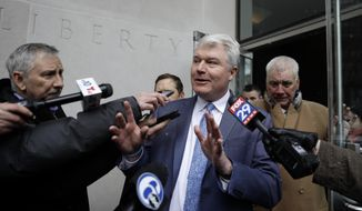 """John """"Johnny Doc"""" Dougherty, Local 98 leader, speaks to the media as he departs the federal courthouse, Friday, Feb. 1, 2019, in Philadelphia. Dougherty, a powerful Philadelphia union leader has pleaded not guilty in a bribery and embezzlement case that reaches City Hall.  (AP Photo/Matt Slocum)"""