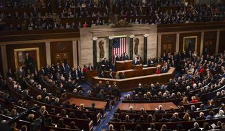In this Jan. 30, 2018, file photo, President Donald Trump delivers his State of the Union address to a joint session of Congress on Capitol Hill in Washington. Trump will be surrounded by living reminders of the 2018 election that delivered Democrats the House majority and elected a record number of women. (AP Photo/Susan Walsh, File)