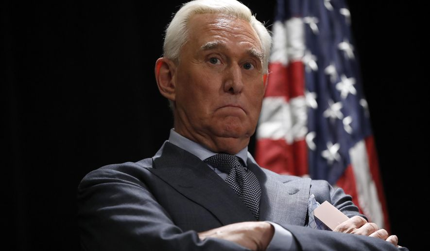 Roger Stone, longtime friend and confidant of President Donald Trump, waits to speak to members of the media in Washington, Thursday, Jan. 31, 2019. Stone is accused of lying to lawmakers, engaging in witness tampering and obstructing a congressional investigation into possible coordination between Russia and Trump's campaign. (AP Photo/Pablo Martinez Monsivais)