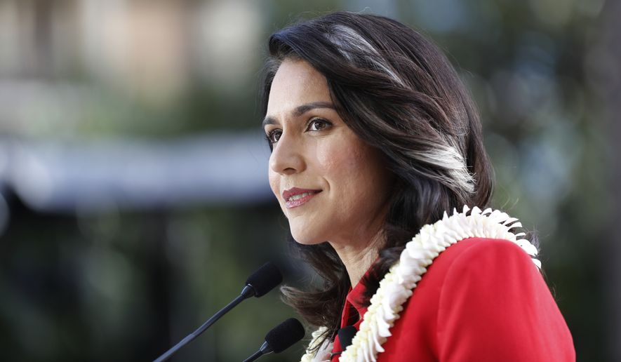 U.S. Rep. Tulsi Gabbard, D-Hawaii, speaks during a campaign rally announcing her candidacy for president in Waikiki, Saturday, Feb. 2, 2019, in Honolulu. (AP Photo/Marco Garcia) ** FILE **