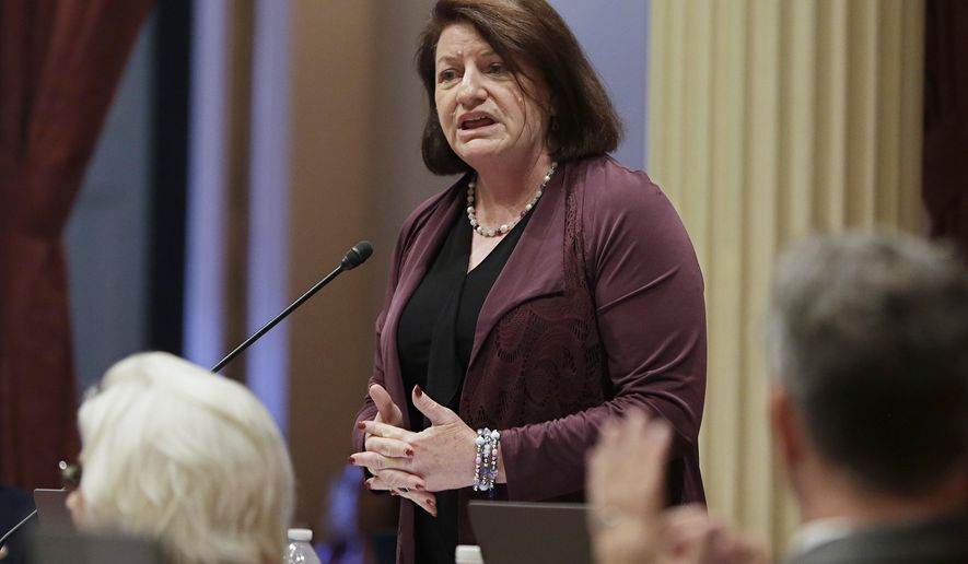 """FILE - In this June 14, 2018, file photo, Senate President Pro Tem Toni Atkins, of San Diego, addresses members of the Senate in Sacramento, Calif. On Friday, Feb. 1, 2019, the California Legislature is opening an independent office to handle investigations of alleged workplace misconduct, including sexual harassment or discrimination. """"Our goals are clear: we need to protect victims and witnesses, hold perpetrators accountable, and restore employee and public confidence,"""" said Atkins. But she added: """"I realize we cannot be satisfied with our progress, because this step alone will not change the culture of this building."""" (AP Photo/Rich Pedroncelli, File)"""