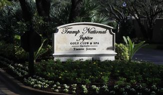 The entrance to Trump National Golf Club in Jupiter, Fla., is shown Saturday, Feb. 2, 2019, where President Donald Trump is playing a round of golf with golfers Jack Nicklaus and Tiger Woods. Trump and his family are spending the weekend at his his Mar-a-Lago estate in Palm Beach, Fla. (AP Photo/Manuel Balce Ceneta)