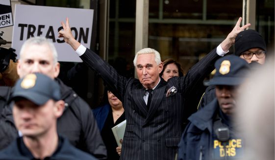 Roger Stone has accused special counsel Robert Mueller of trying to turn potential jurors against him. (Associated Press)