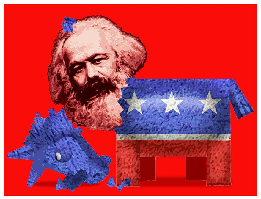 Illustration on the increased radical tendencies of the Democratic Party by Alexander Hunter/The Washington Times
