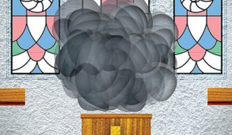 Illustration on confusion in the pulpit by Alexander Hunter/The Washington Times