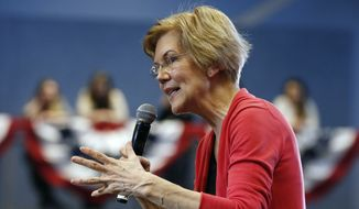 In this Jan. 12, 2019, file photo, Sen. Elizabeth Warren, D-Mass., speaks during an organizing event at Manchester Community College in Manchester, N.H. (AP Photo/Michael Dwyer) ** FILE **
