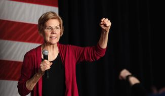 In this Saturday, Jan. 5, 2019, file photo, U.S. Sen. Elizabeth Warren, D-Mass., speaks during an organizing event at Curate event space in Des Moines, Iowa. (AP Photo/Matthew Putney, File)