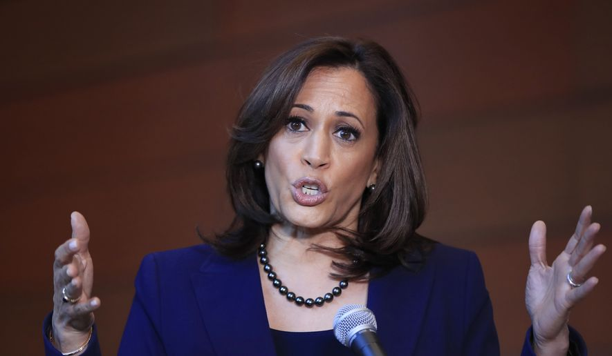 In this Monday, Jan. 21, 2019, file photo, Sen. Kamala Harris, D-Calif., speaks to members of the media at her alma mater, Howard University, in Washington, following her announcement earlier in the morning that she will run for president. (AP Photo/Manuel Balce Ceneta, File)