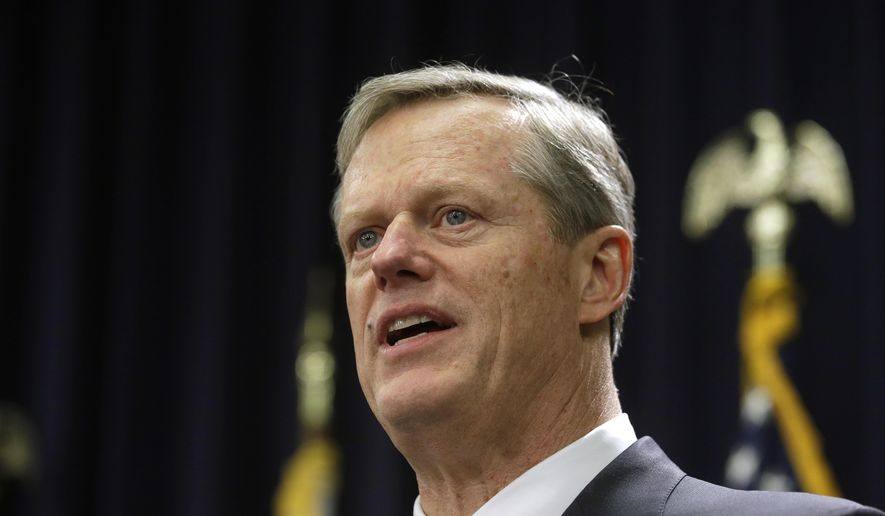 Massachusetts Gov. Charlie Baker (R) is shown in this Jan. 23, 2019, file photo. On Apri 8, 2019, Mr. Baker signed a bill into law that bans so-called conversion therapy for minors who are LGBT.  (AP Photo/Steven Senne, File) **FILE**
