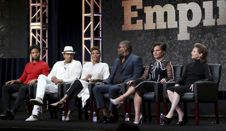 "In this Aug. 8, 2017, file photo, Jussie Smollett, from left, Terrence Howard, Taraji P. Henson, Lee Daniels, Sanaa Hamri and Ilene Chaiken participate in the ""Empire"" panel during the FOX Television Critics Association Summer Press Tour at the Beverly Hilton in Beverly Hills, Calif. (Photo by Willy Sanjuan/Invision/AP, File)"