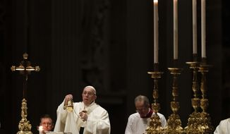 Pope Francis celebrates Mass with members of religious institutions on the occasion of the celebration of the XXIII world day of consecrated life in St. Peter's Basilica, at the Vatican, Saturday, Feb. 2, 2019. (AP Photo/Gregorio Borgia)