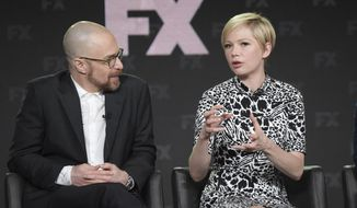 "Sam Rockwell, left, and Michelle Williams participate in the ""Fosse/Verdon"" panel during FX TCA Winter Press Tour on Monday, Feb. 4, 2019, in Pasadena, Calif. (Photo by Richard Shotwell/Invision/AP)"