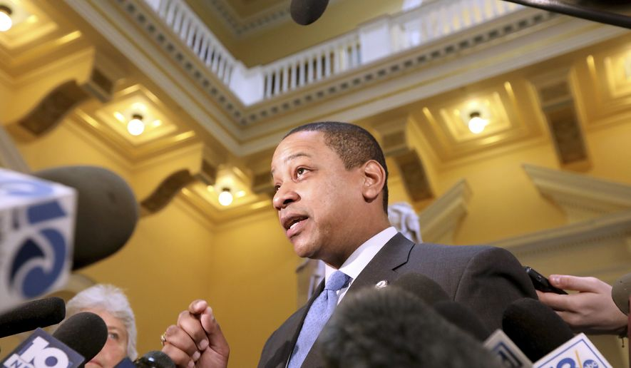 Virginia Lt. Gov. Justin Fairfax talks about the possibility of him becoming the next governor of Virginia on Monday, February 4, 2019 at the Capitol in Richmond, Va.  (Steve Earley/The Virginian-Pilot via AP)