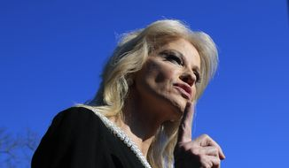 Counselor to the President Kellyanne Conway speaks to reporters outside the West Wing of the White House in Washington, Monday, Feb. 4, 2019. (AP Photo/Manuel Balce Ceneta) ** FILE **