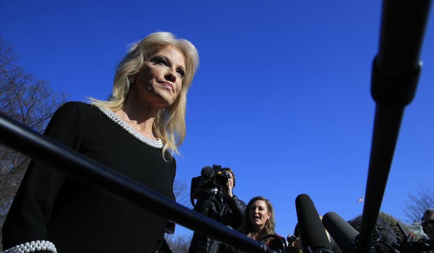 Counselor to the President Kellyanne Conway speaks to reporters outside the West Wing of the White House in Washington, Monday, Feb. 4, 2019. (AP Photo/Manuel Balce Ceneta)