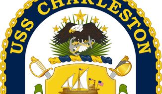 The crest for the USS Charleston, a littoral combat ship that will officially be commissioned by the U.S. Navy on March 2, 2019. Image in the public domain via Wikimedia Commons. (U.S. Navy/Wikimedia)