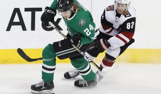 Dallas Stars left wing Roope Hintz (24) and Arizona Coyotes defenseman Jordan Oesterle (82) skate for the puck during the second period of an NHL hockey game in Dallas, Monday, Feb. 4, 2019. (AP Photo/LM Otero)