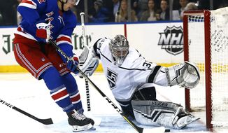Los Angeles Kings goaltender Jonathan Quick (32) defends against New York Rangers center Filip Chytil (72) during the second period of an NHL hockey game, Monday, Feb. 4, 2019, in New York. (AP Photo/Noah K. Murray)
