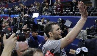 New England Patriots' Tom Brady waves as he leaves the field after the NFL Super Bowl 53 football game against the Los Angeles Rams, Sunday, Feb. 3, 2019, in Atlanta. The Patriots won 13-3. (AP Photo/Patrick Semansky)