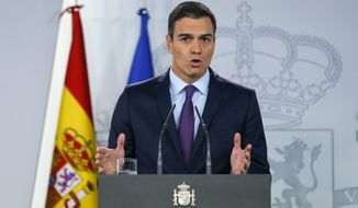 """Spain's Prime Minister Pedro Sanchez delivers a statement at the Moncloa Palace in Madrid, Spain, Monday, Feb. 4, 2019.  Sanchez told reporters """"we are working for the return of full democracy in Venezuela"""", as Spain, France, and Sweden join countries that have recognized Venezuelan opposition leader Juan Guaido as the nation's interim president. (AP Photo/Andrea Comas)"""
