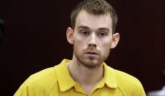 FILE - In this Aug. 22, 2018, file photo, Travis Reinking appears at a hearing in Nashville, Tenn. Reinking, accused of killing four people in a mass shooting at a Waffle House in Nashville in 2018 now faces a 17-count indictment. A Davidson County Criminal Court filing Friday, Feb. 1, 2019 says Reinking was indicted on charges that include first-degree murder.(AP Photo/Mark Humphrey, File)
