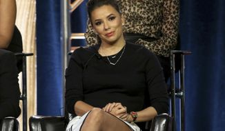 """Eva Longoria participates in the """"Grand Hotel"""" panel during the ABC presentation at the Television Critics Association Winter Press Tour at The Langham Huntington on Tuesday, Feb. 5, 2019, in Pasadena, Calif. (Photo by Willy Sanjuan/Invision/AP)"""
