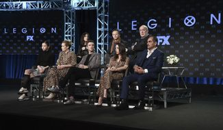 """Lauren Tsai, from front row left, Rachel Keller, Dan Stevens, Aubrey Plaza, Navid Negahban, Lauren Shuler-Donner, and from back row left, Noah Hawley, and Jeph Loeb participate in the """"Legion"""" panel during FX TCA Winter Press Tour on Monday, Feb. 4, 2019, in Pasadena, Calif. (Photo by Richard Shotwell/Invision/AP)"""