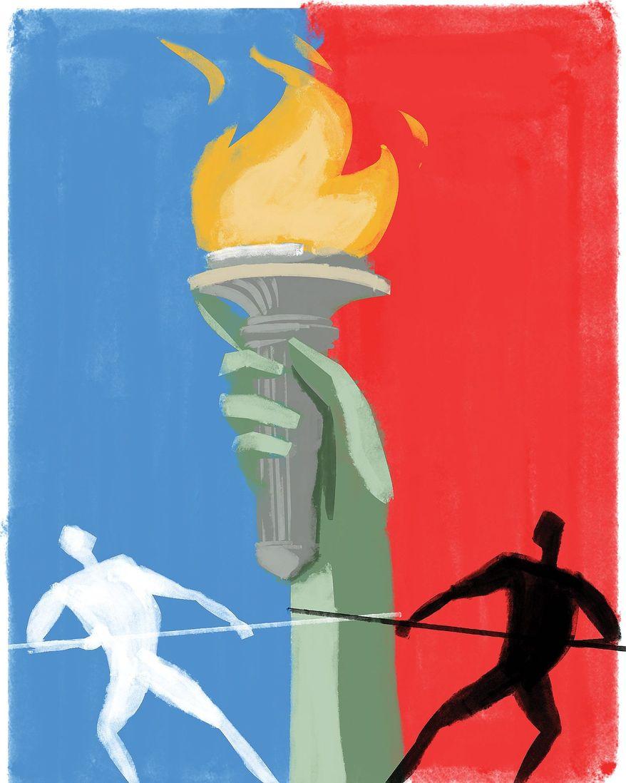 Illustration on freedom worldwide by Linas Garsys/The Washington Times