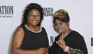 "Lynnette Hardaway, left, and Rochelle Richardson, a.k.a. Diamond and Silk, arrive at the LA Premiere of ""Death of a Nation"" at the Regal Cinemas at L.A. Live on Monday, July 31, 2018, in Los Angeles. (Photo by Willy Sanjuan/Invision/AP)"